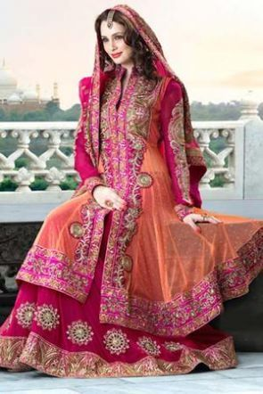 Pink Georgette Net Suit Loved The Colour Combination
