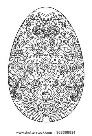 Zentangle Black And White Decorative Easter Egg Vector Illustration Easter Coloring Pages Easter Egg Coloring Pages Easter Colors