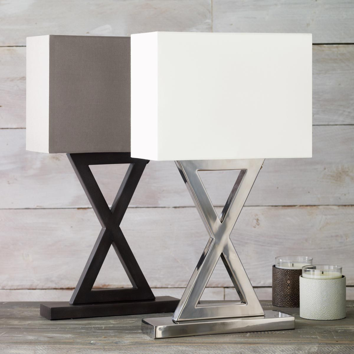 Monochrome 'X' Lamp, Narrow Contemporary table lamps