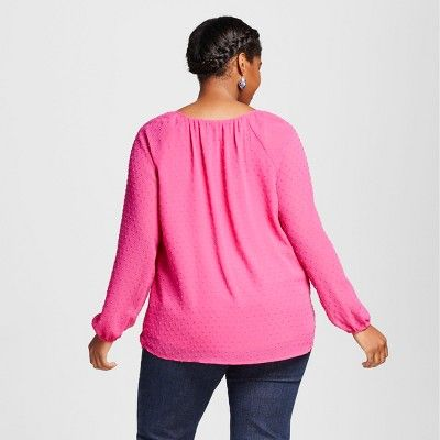 Women's Plus Size Textured Blouse Pink 4X - Ava & Viv