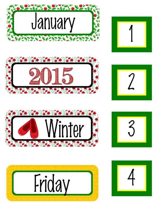 dorothy oz calendar set wizard of oz classroom décor and