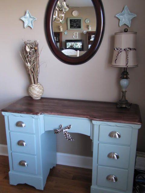 Desk Redo Color Idea Refinished Desk Redo Furniture Furniture Makeover Diy