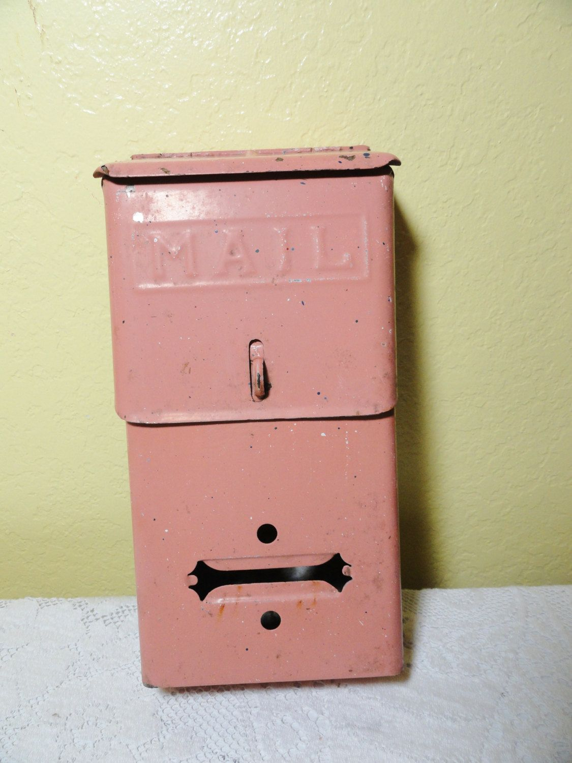 Vintage Mailbox Architectural Wall Mount Pink Vintage Mailbox Antique Mailbox Old Mailbox
