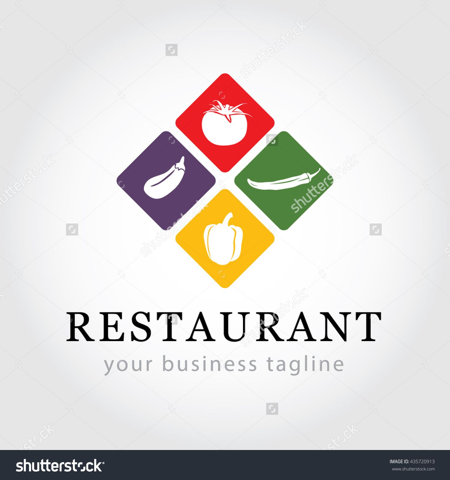 Restaurant Logo Vegetable Icons Food Industry Branding