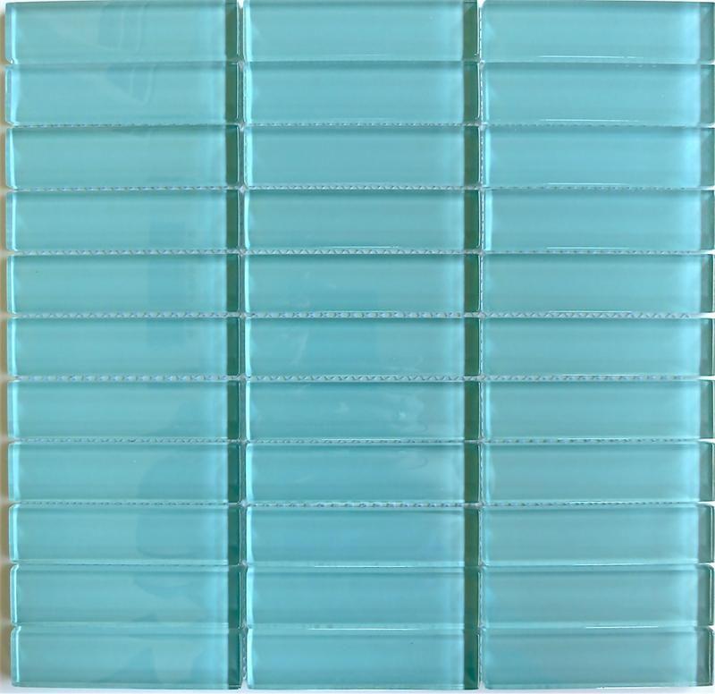 Lush 1x4 Pool Aqua Blue Green Glass Subway Tile Blue pool