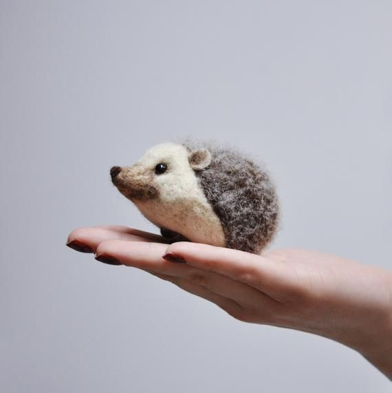 Felted Hedgehog Figurine - Faux Taxidermy Soft Sculpture - Pin Holder - Needle Felted