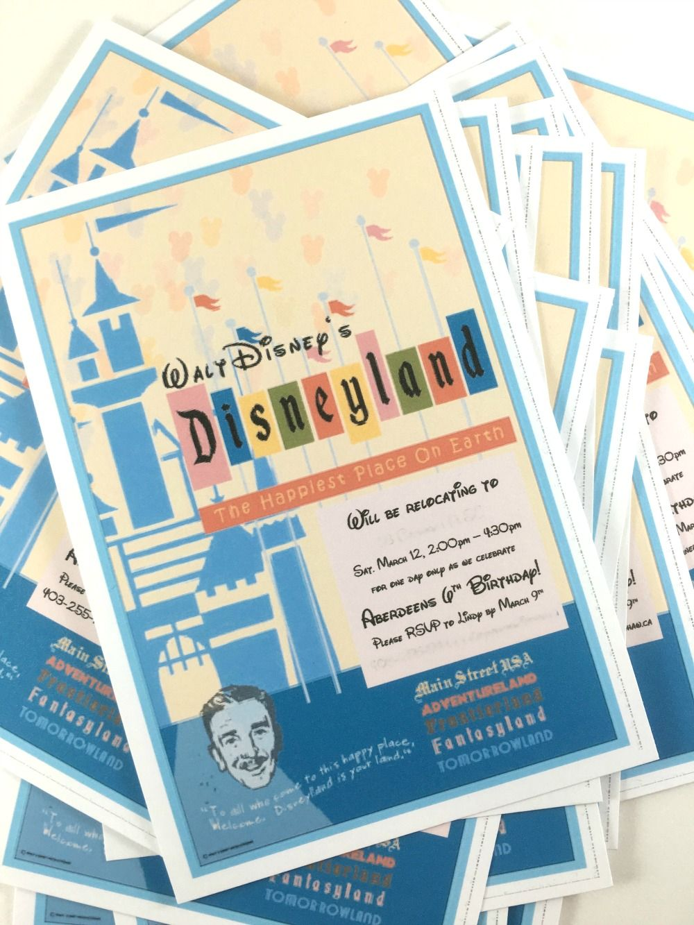 Disneyland Themed Birthday Party Invitation