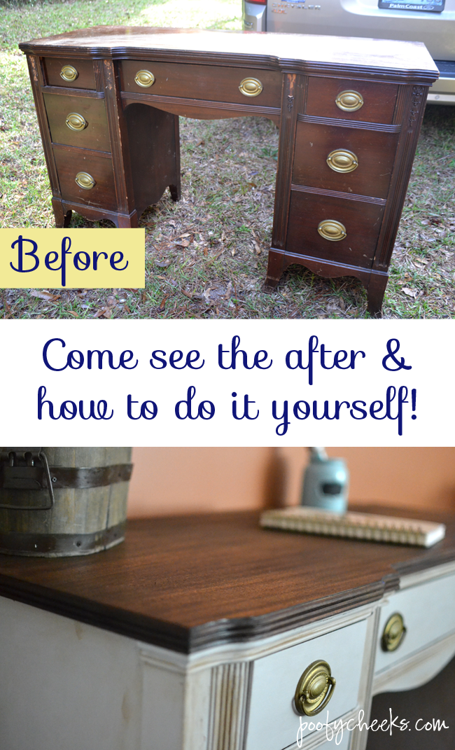 two toned chalk paint vintage desk redo redo furniture on desk color ideas id=43122