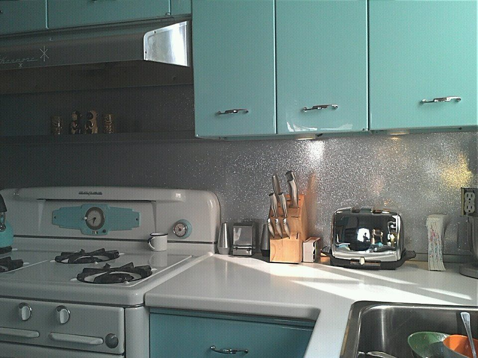 Metal Flake backsplash. #retro kitchen #aqua kitchen | Kitchen ...