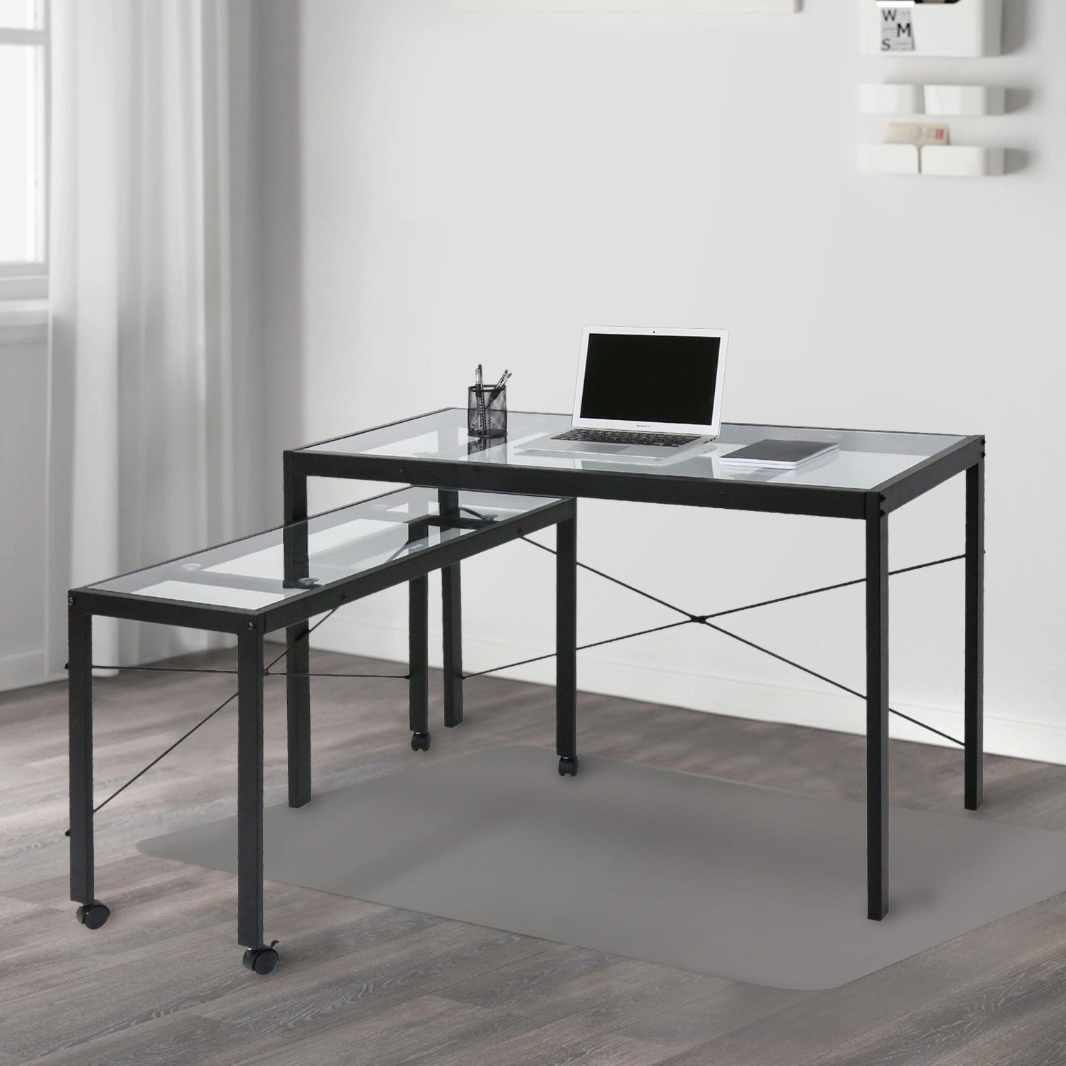 Kinbor Home Office Computer Desk Workstation With Glass Top 2