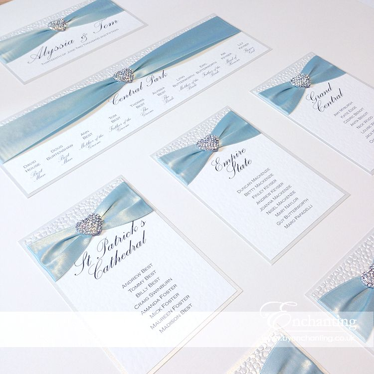 Ice Blue Wedding Stationery The Ariel Collection Table Plan Seating Chart Featuring White Pebble Paper Ribbon And Diamante Heart