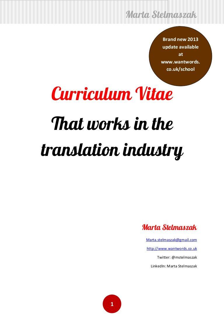 how to write a translator u0026 39 s cv by marta stelmaszak  wantwords  on slideshare