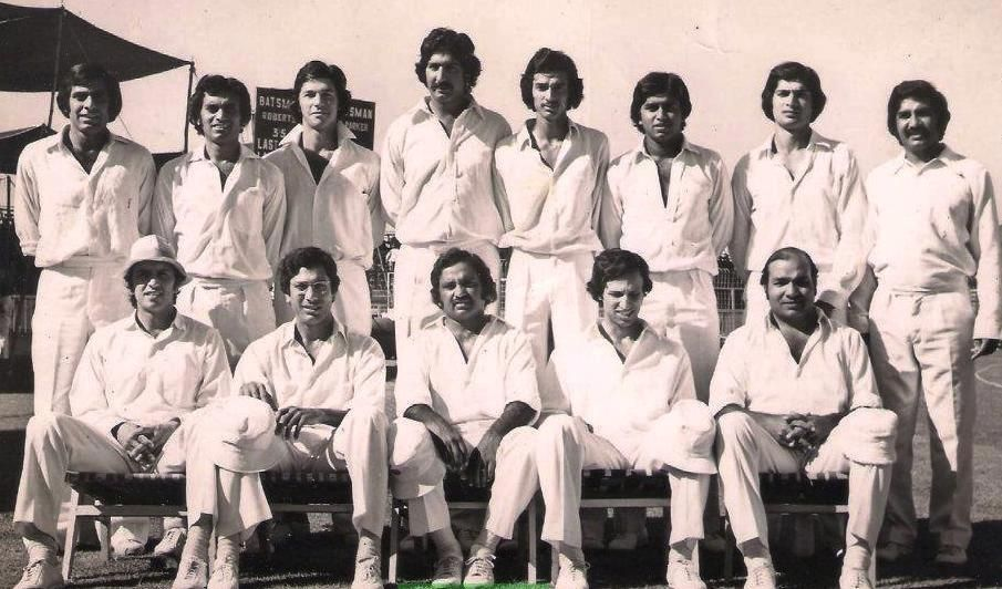 From Left to Right - Standing Haroon Rasheed, Unknown, Imran Khan, Sarfaraz Nawaz, Sikander Bakht, Javed Miandad, Mohsin Khan, Sadiq Muhammad  From Left to Right - Sitting Majid Khan, Zaheer Abbas, Mushtaq Muhammad, Asif Iqbal, Intikhab Alam