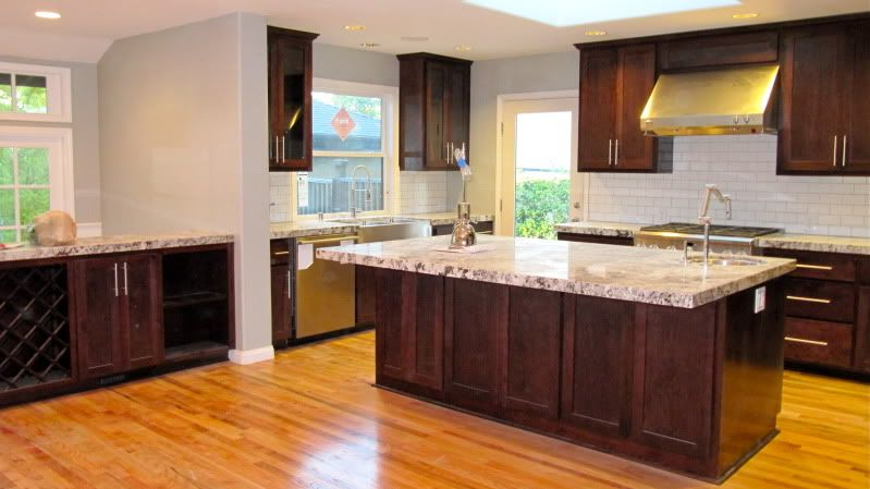 Cabinets Are Cherry Stained Dark Custom Stain With Alaskan White Granite We Moved In A Week Ago