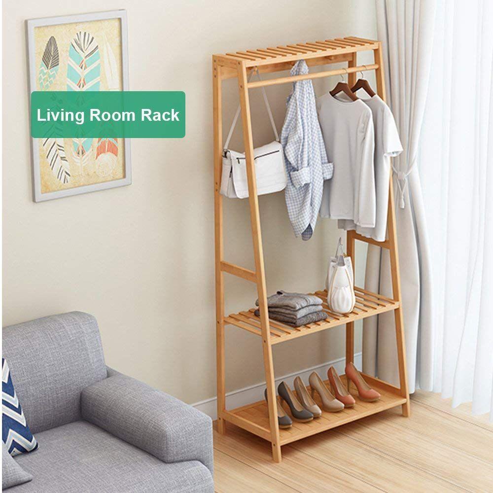 Ufine Garment Rack Bamboo Wood Entryway Coat Rack 3 Tiers Shoe Clothes Storage Shelves 6 Coat Hooks 1 Hanging Bar For Bag Clothing Umbrella Holder Living Room B Entryway Coat Rack