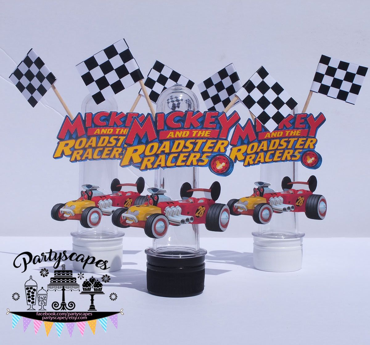 Mickey Roadster Racers Checkered Flags Birthday Candy Tube Party