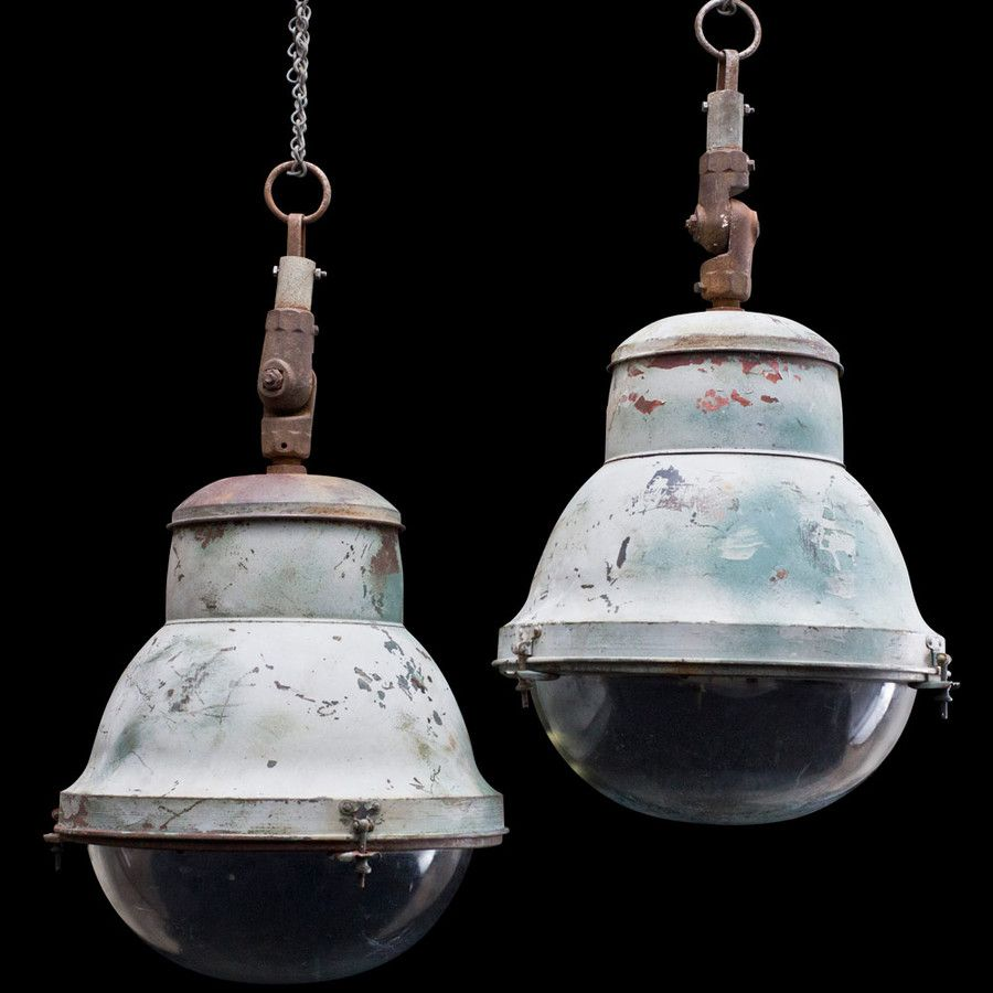 Large Industrial Copper / Glass Light ::