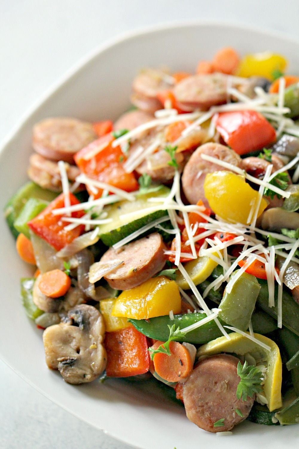 Low carb one pan chicken sausage and vegetables recipe