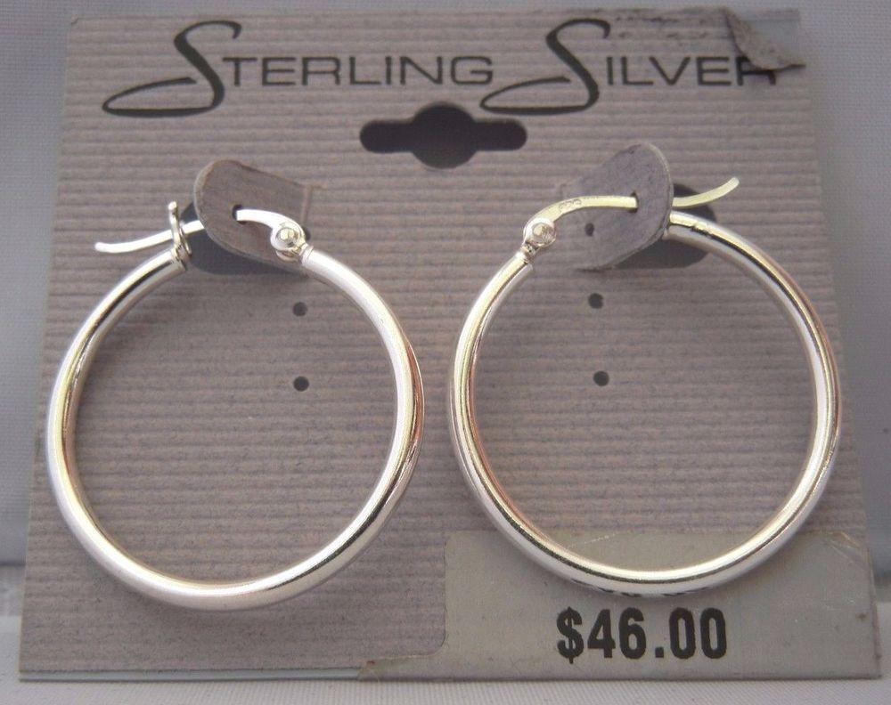 STERLING SILVER POLISHED HOOP EARRINGS 31MM NEW ON CARD! SHIPS FREE! #STERLINGSILVER #HOOP