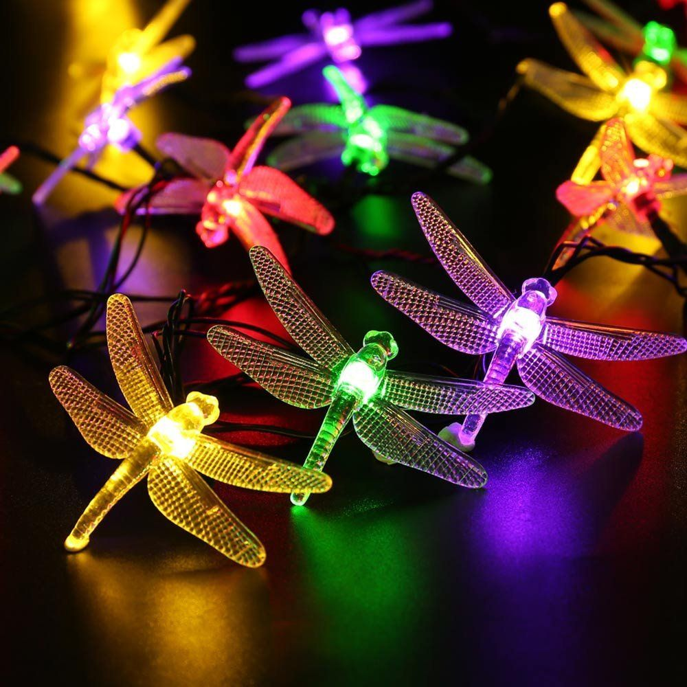 Icicle solar powered outdoor string lights dragonfly decoration icicle solar powered outdoor string lights dragonfly decoration 16ft 20 leds starry lighting multi color amazon aloadofball Choice Image