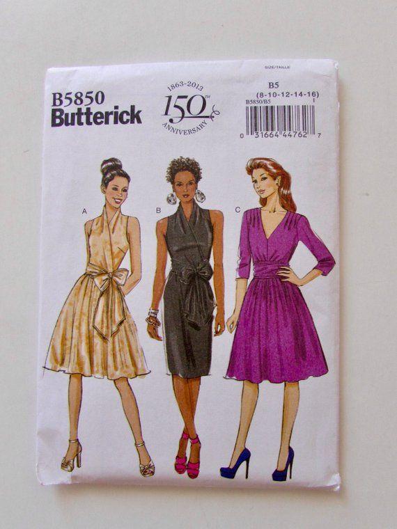Butterick B5850, Woman's Sleeveless or Long Sleeve Dress, Gathered Skirt, Elegant Cocktail Dress, Mock Wrap Front - Uncut