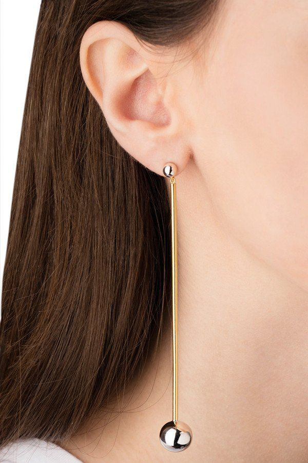 Orbit Shoulder Duster Earring Silver Maria Black