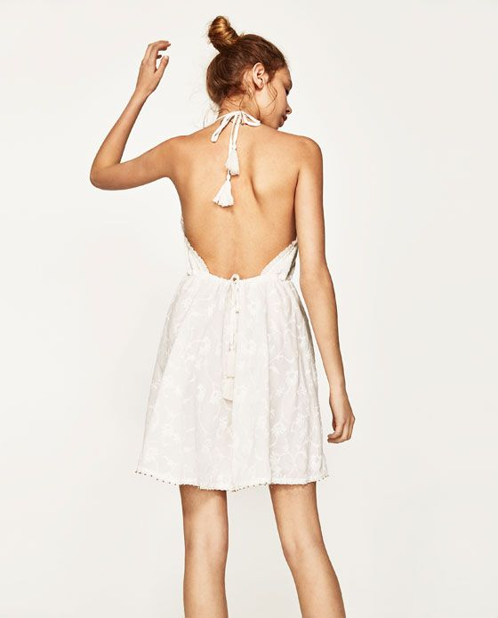 ee8ffdc4 Image 6 of EMBROIDERED MINI HALTER DRESS from Zara White Closet, Zara Whites,  Open