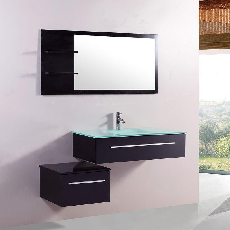 Lyséa Wengé  ensemble salle de bain 2 meubles + 1 vasque + 1 miroir - meuble salle de bain marron