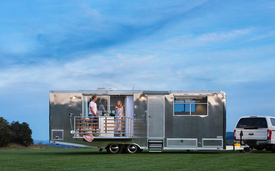 Photo 1 Of 9 In A Well Traveled Couple Launch A Line Of Sleek Homes House On Wheels Tiny House Trailer Tiny House Blog