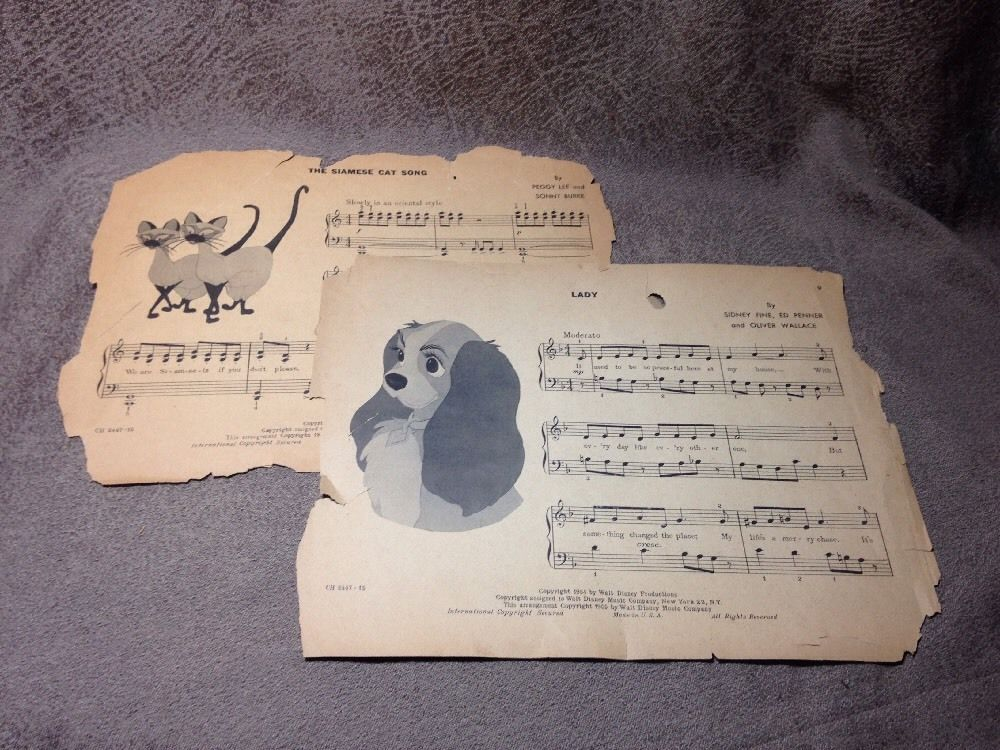 1955 Walt Disney Productions Lady The Siamese Cat Song Sheet Music Disney Sheet Music Song Sheet Vintage Sheet Music
