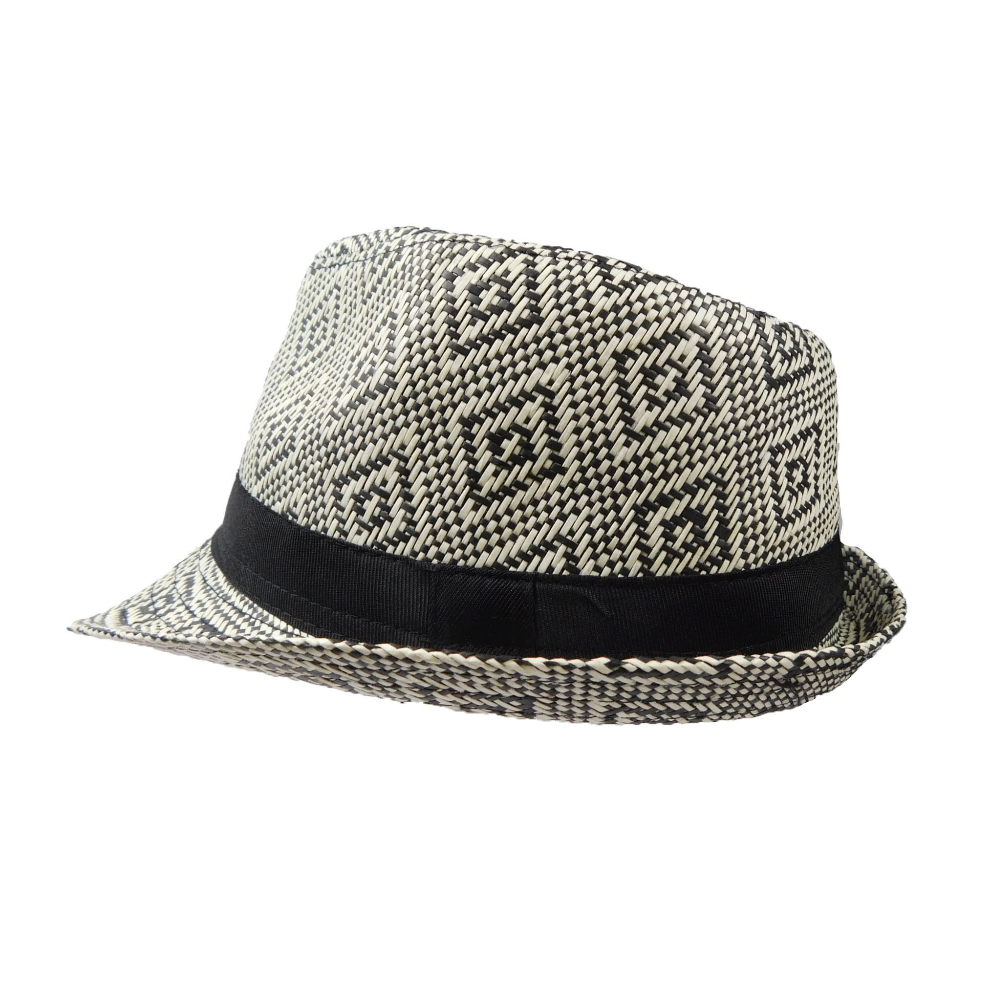 03bfb2df05594 Summer Trilby with Geometric Pattern Wide Brim Fedora