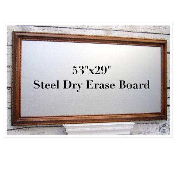 Extra Large Modern Sleek Solid Wood framed Steel Dry Erase Magnet ...