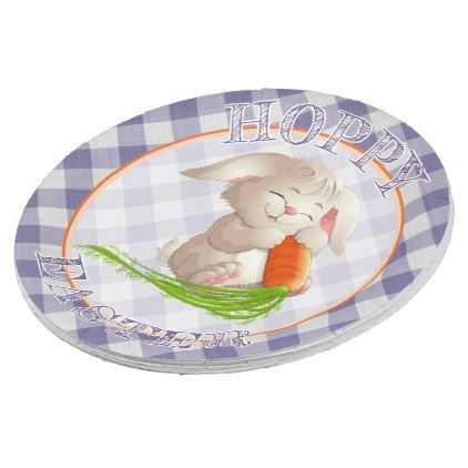 Hoppy happy easter bunny violet gingham pattern paper plate hoppy happy easter bunny violet gingham pattern paper plate retro gifts style cyo diy special negle Images