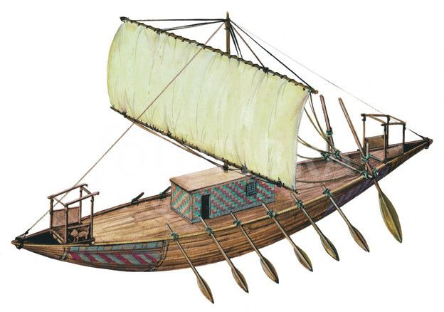 Artist's reconstruction of an ancient Egyptian trading ship ...