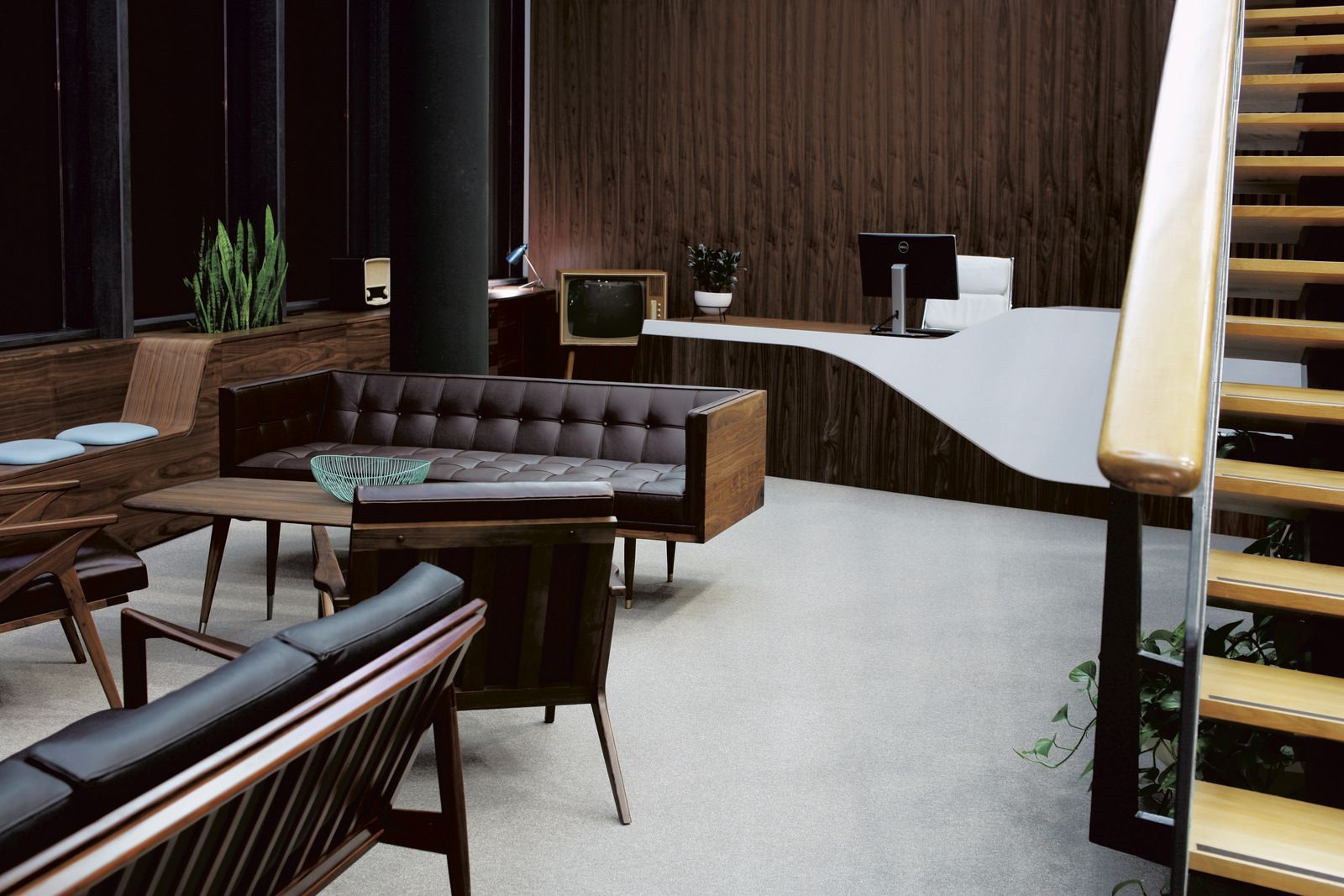 Unnamed Company Mid Century Mad Men Style Office Office Snapshots Contemporary Office Space Contemporary Office Contemporary Home Decor