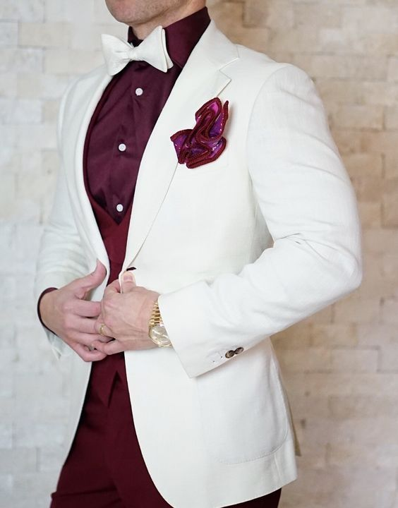 Latest Coat Pant Designs White Burgundy Wedding Suits for Men Slim ...