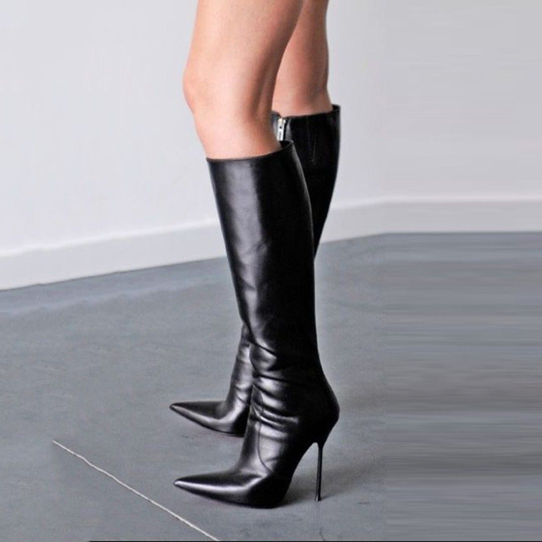 3075c49f0c6 Stylish Black Pointed Toe Stiletto Heel Knee High Boots | Knee High ...
