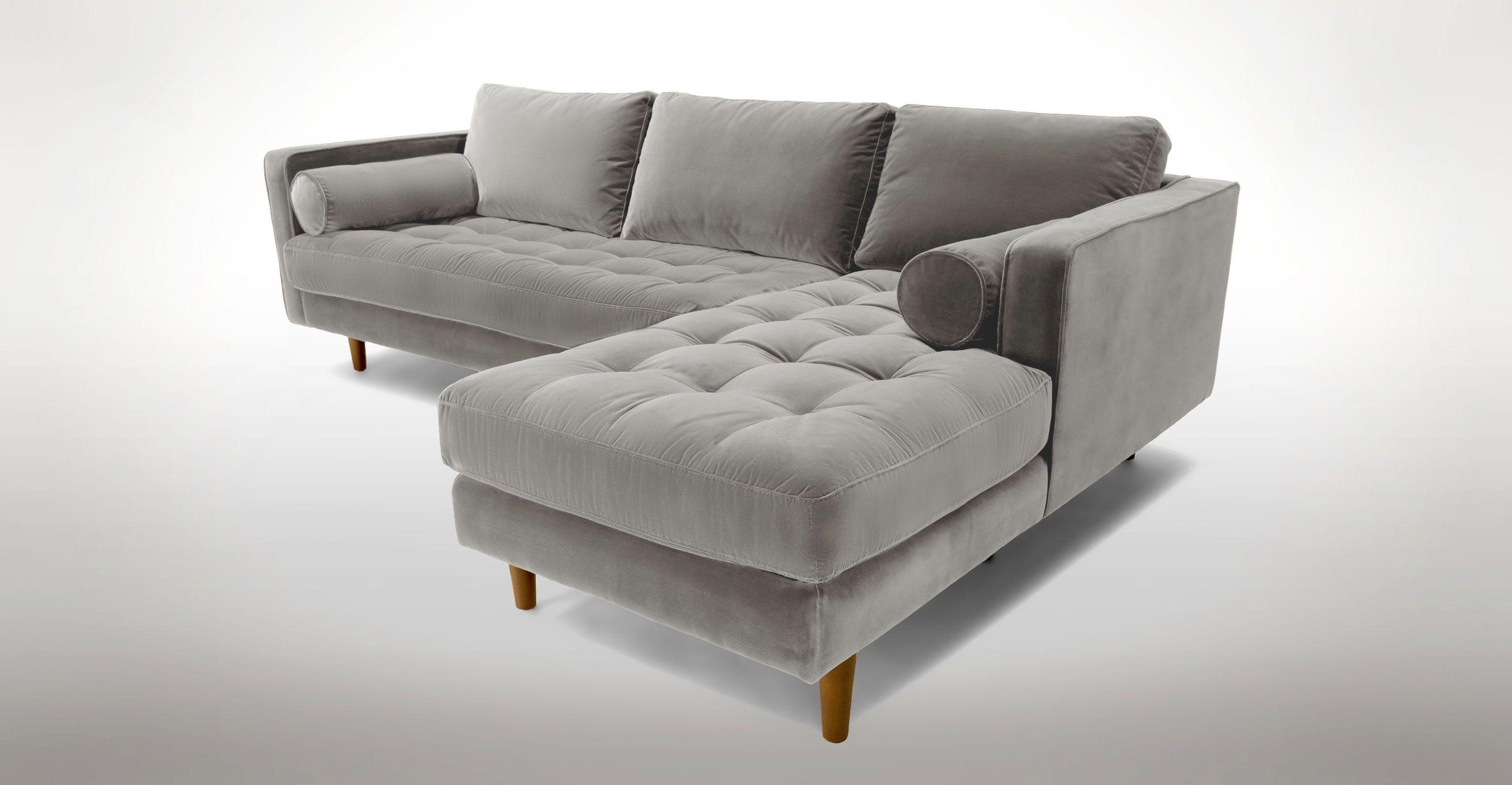 Grey Velvet Mid Century Modern Sectional Upholstered