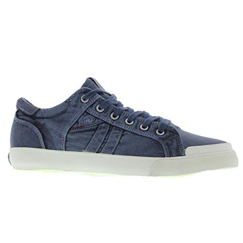 Mens Lampe Navy Blue Textile Trainers 43 EU - http://on-line-kaufen.de/replay/43-eu-replay-mens-lampe-textile-trainers