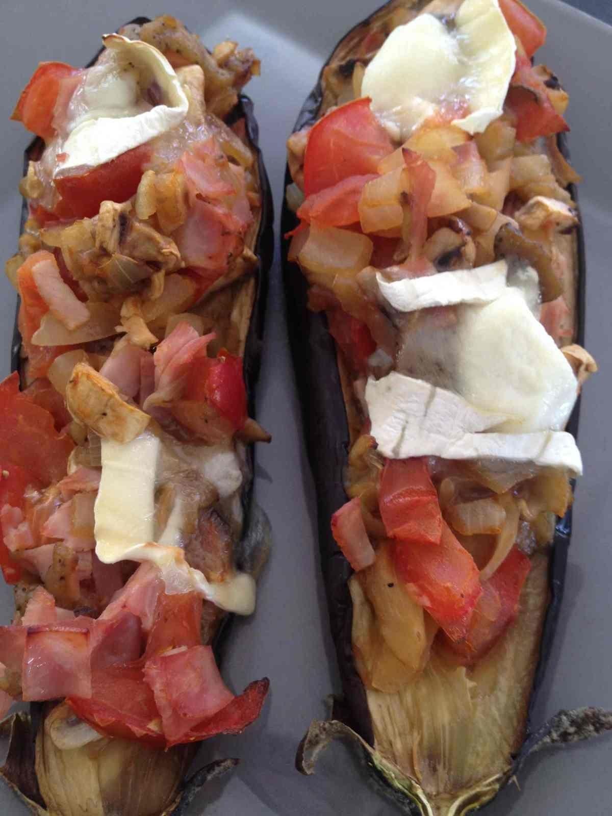 Aubergine farcie champignons jambon et chèvre | Recette à ...