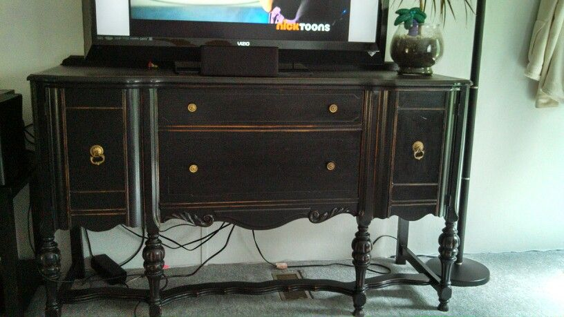 Refurbished Antique Buffet Used As A Tv Stand Did It Myself And Turned Out Great Love The Extra Storage