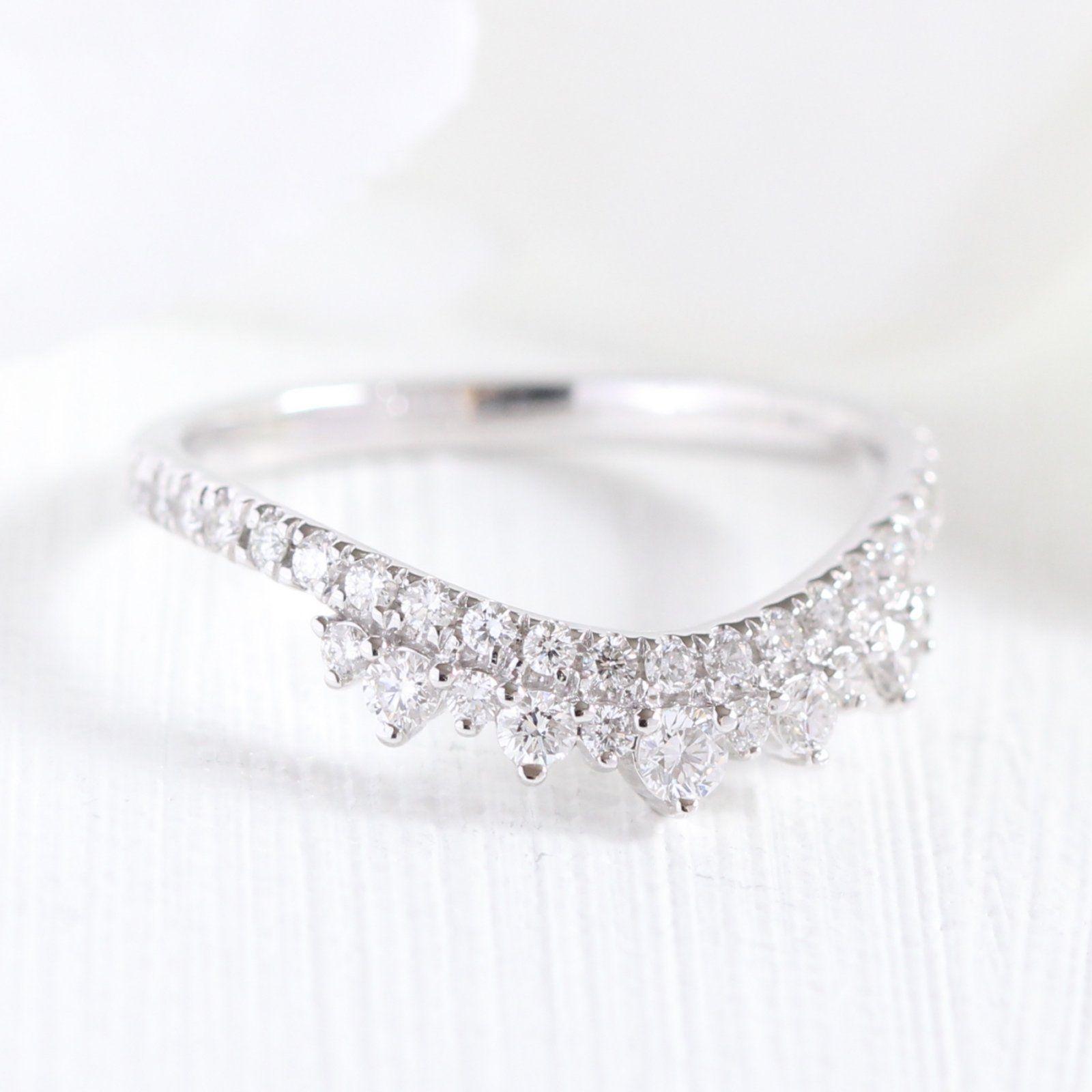 Ready to Ship Crown Diamond Wedding Ring in Platinum, Size