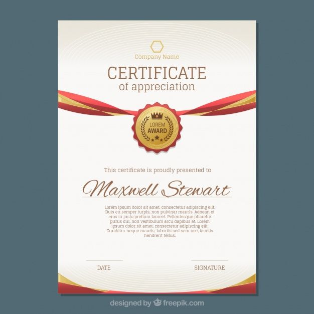 Luxury Certificate With Gold And Red Details Free Vector