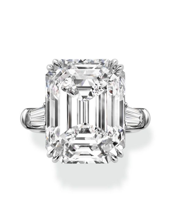 Harry Winston Emerald Cut Diamond Engagement Ring With Tapered Baguettes Set In Platinum Price Upon Request Harrywinston