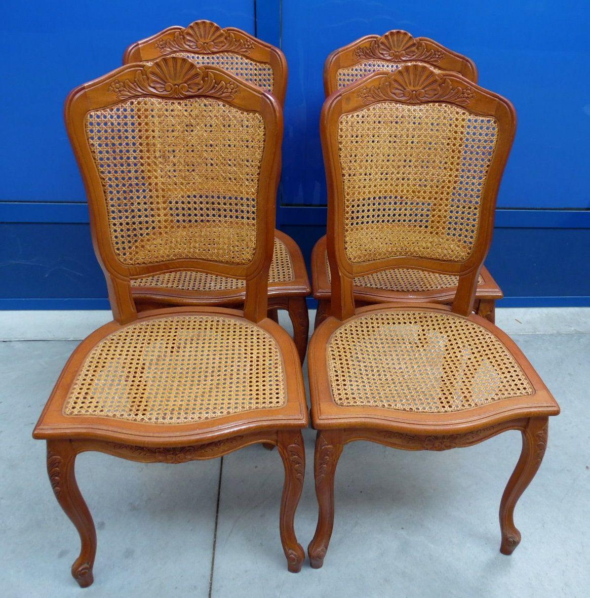 4 sedie in stile Luigi XV provenzali in ciliegio e paglia di Vienna ...