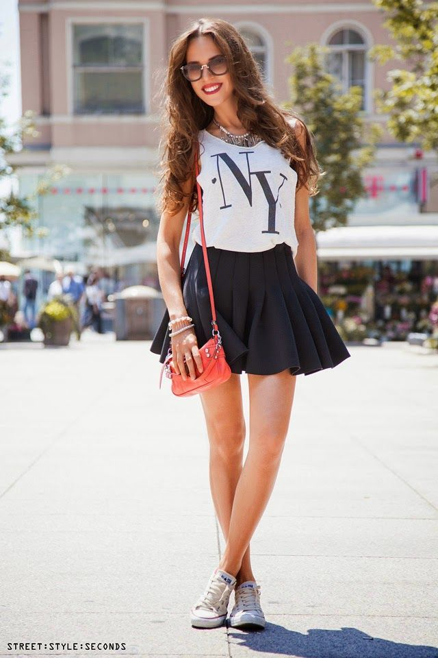 5ad3f28dd What Shoes to Wear with a Miniskirt in 2019   Top Picks for Fall 2016    Fashion, Skirt, sneakers, Womens fashion sneakers
