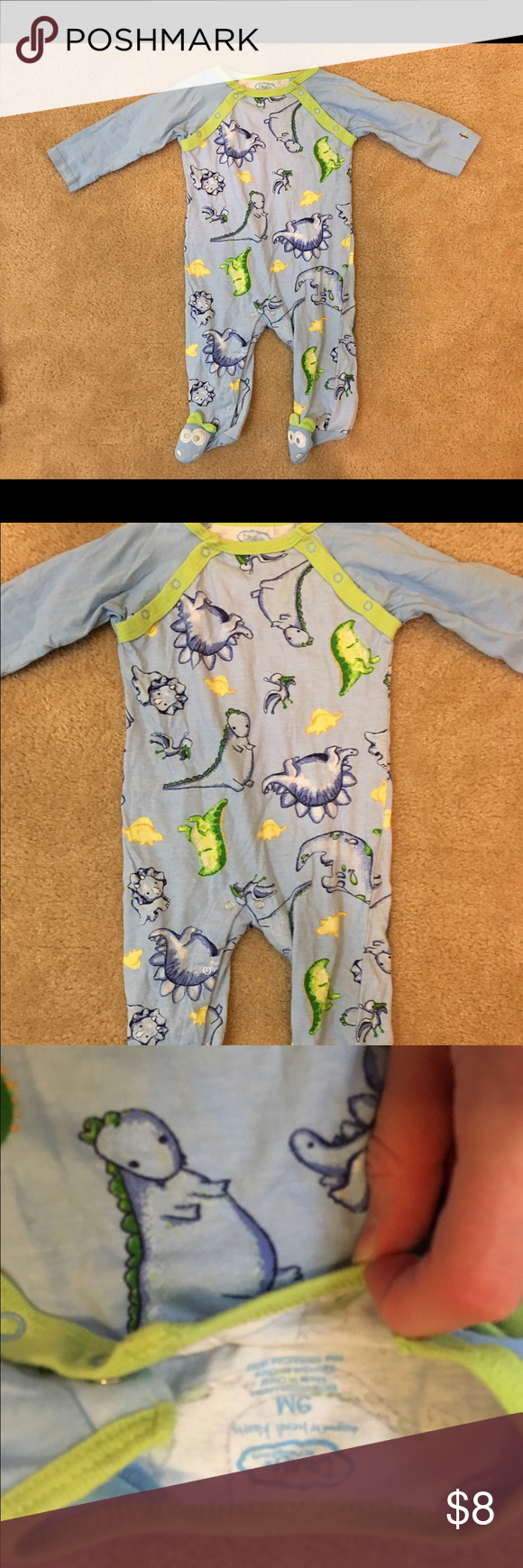 Truly Scrumptious dinosaur pajamas Baby boys truly scrumptious by Heidi Klum size 9 month footie pajamas only worn once! Pajamas