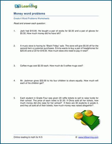 Money Word Problems Printable Worksheets Money Word Problems Word Problem Worksheets Word Problems Money worksheet grade 4