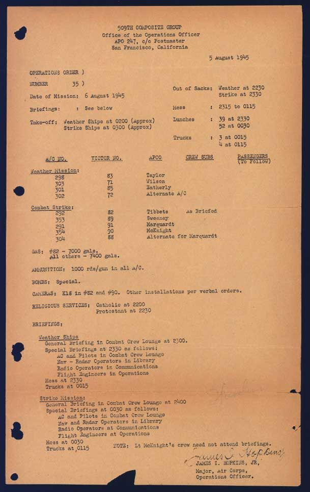 op order for the enola gay to strike by dropping the atomic bomb  manhattan project