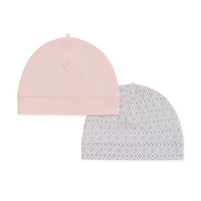 Petit Lem   Newborn 2-Pack Organic Cotton Hats In Pink/grey - Welcome your baby home with these ultra-soft Newborn Hats from Petit Lim. Crafted in 100% organic cotton, the set includes a pretty solid pink and a chic grey geometric pattern, perfect to keep her head warm.